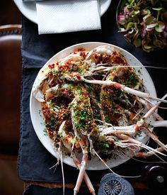 """Recipe for scampi """"casino""""-style by Dan Pepperell from 10 William St in Sydney. Cooking 101, Just Cooking, Clams Casino, Sydney, Scampi Recipe, Shrimp Recipes, Shellfish Recipes, Recipe Search, Fish Dishes"""