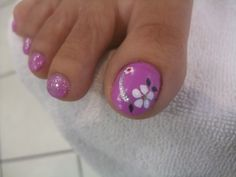 Pedicure with spring flower nails art. #happy,  #spring, #cute, #nail, #art,