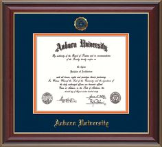Auburn University Diploma Frame: Hardwood moulding w/official Auburn Seal and school name embossed in gold - Navy on Orange Mat. Makes a unique graduation gift!