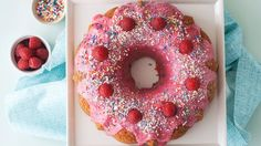 Betty Crocker™ SuperMoist™ rainbow chip cake mix and a homemade raspberry-cream cheese glaze make this colorful Bundt cake extra special.