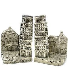 Italian souvenirs of famous landmarks of Italy such as Leaning Tower of Pisa, Colosseum, Venice, gondola and Tuscany Famous Landmarks, Pisa, Tuscany, Venice, Rome, Bookends, Italy, Gifts, Italia