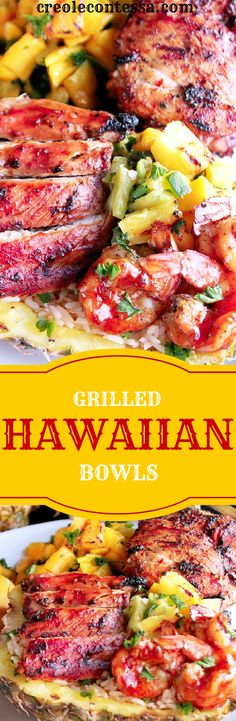 Healthy Recipes : Illustration Description Grilled Chicken and Shrimp Hawaiian Bowls-Creole Contessa -Read More – Grilling Recipes, Seafood Recipes, Chicken Recipes, Dinner Recipes, Cooking Recipes, Healthy Recipes, Chicken Meals, Bacon Recipes, Healthy Chicken