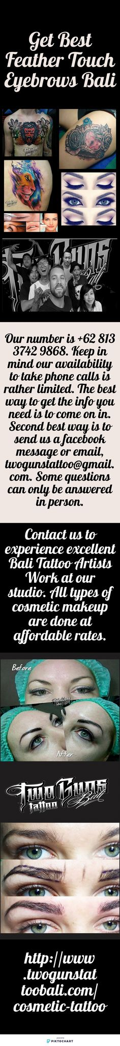 Get Best Feather Touch Eyebrows Bali from twoguns tattoo Bali. We have expert artists who use pigmentation to enhance your eyebrows. To know more about Feather Eyebrows service, contact our Bali Tattoo Artists today. Also Visit: http://www.twogunstattoobali.com/cosmetic-tattoo