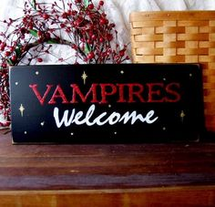 Vampires Welcome Wood Sign Painted Halloween Wall Decor Halloween Wall Decor, Halloween Crafts, Halloween Decorations, Halloween Ideas, Halloween Party, Vampire Party, Vampire Love, Vampire Diaries, Welcome Wood Sign