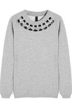 Mother of Pearl Lucas embellished cotton-jersey sweatshirt | NET-A-PORTER