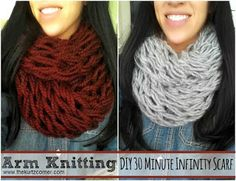 Arm Knitting - DIY Infinity Scarf