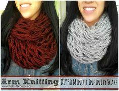 Arm Knitting - DIY Infinity Scarf