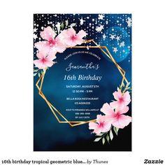Shop birthday tropical black gold stars invitation postcard created by Thunes. Sweet 16 Invitations, Birthday Party Invitations, Invitation Ideas, 18th Birthday Party, Fiftieth Birthday, Birthday Ideas, Mexican Birthday, Birthday Cakes, Sweet 16 Parties