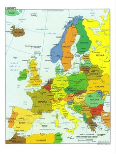 Europe detailed political map with capitals. Detailed political map of Europe with capitals. Geography Map, Teaching Geography, World Geography, Albania, Pays Francophone, Europe Continent, Country Maps, Backpacking Europe, Travel Europe