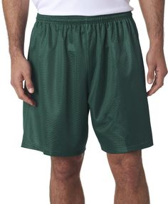"a4 adult tricot-lined 7"" mesh shorts - forest (xs)"