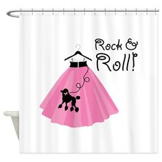 Rock and Roll Poodle Skirt Shower Curtain by ConcordCollections - CafePress Custom Shower Curtains, Fabric Shower Curtains, Mid Century Modern Decor, Color Combinations, Rock And Roll, Pillows, Stylish, Skirts, Skirt