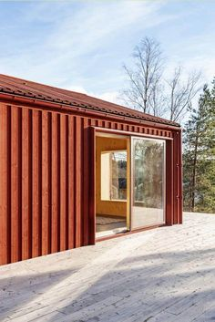 Image 13 of 20 from gallery of Monochrome House / Lookofsky Architecture. Photograph by Mattias Hamrén Architecture Photo, Modern Architecture, Red Houses, Architectural Section, Garden Studio, Building Design, Tiny House, Monochrome, House Ideas