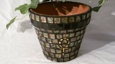 New Terracotta Handmade Mosaic Flower Pot/Planter by NKRNmosaics, $40.00 sold Mosaic Planters, Mosaic Flower Pots, Mosaic Garden, Planter Pots, Mosaic Bottles, Garden Pots, Mosaics, Terracotta, Vases
