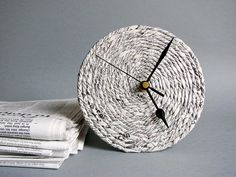 Newspaper desk clock // Handmade recycled paper clock by BLURECO