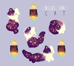 Night Cream Cat, an art print by Nadia Kim Chat Kawaii, Arte Do Kawaii, Kawaii Cat, Chibi, Cute Animal Drawings, Kawaii Drawings, Anime Kunst, Anime Art, Animals Watercolor