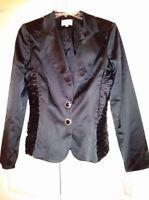 New Alberto Makali Womens Blazer Black Satin Jacket Embellished buttons M Sz 12