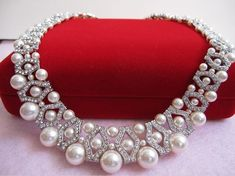 Bridal Necklace Swarovski pearl necklace bridal by ChantalEveleen, $125.00