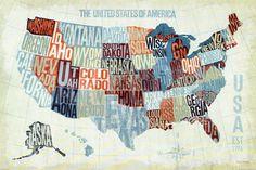 USA Modern Blue Art Print by Michael Mullan at Art.com