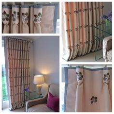 Here's a great example of how pattern placement can really make your window treatment sing. These goblet pleated curtains were made using the hand-embroidered pattern as a guide to create the pleats and spaces. A delicate border was added to three sides to compliment the colours in the embroidery threads. Whether the curtains are drawn or not, the beautiful motifs play a major part in the curtain design. We think they're beautiful, what do you think?