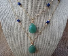 Green jade pendant and blue lapis necklace