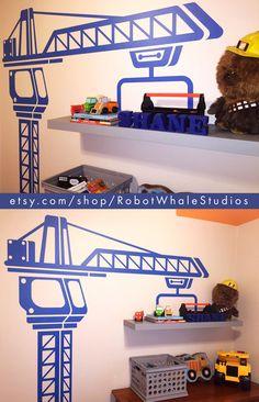 Construction Crane Vinyl Wall Decal - Boys Bedroom Wall ...