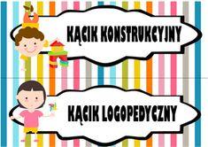 Kąciki w sali przedszkolnej - etykiety do pobrania i drukowania - Pani Monia Diy And Crafts, Family Guy, Clip Art, Education, Fictional Characters, Speech Language Therapy, Onderwijs, Fantasy Characters, Learning