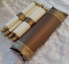 Burnt scroll card Invitation. 50 Wedding parchment scroll