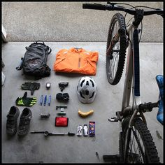 Check it out! Everything you need for a day of mountain biking, all laid out and ready to go. #HotMtBike. - http://WhatIsTheBestMountainBike.com