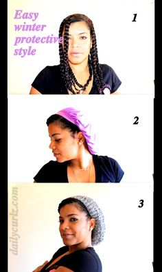 winter protective style! twisties, silk cap and hat. boop, get money.