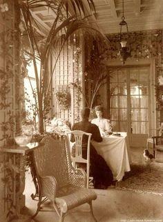 Beautiful sepai photo of a spectacular Victorian interior.
