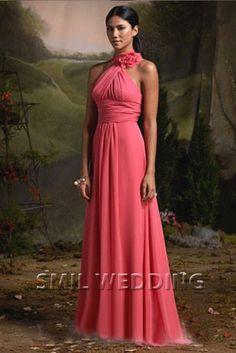 Juweel lange jurk chiffon a-lijn plooien ruches BJ201402