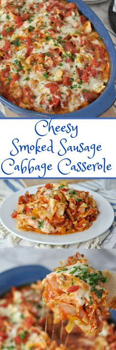 Cheesy Smoked Sausage and Cabbage Casserole - Low Carb, Gluten Free Peace Love and Low Carb gluten free cookies recipe;ditch the carbs reci Cabbage Recipes, Pork Recipes, Low Carb Recipes, Diet Recipes, Cooking Recipes, Healthy Recipes, Sauerkraut Recipes, Potato Recipes, Hamburger Recipes