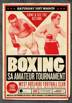 Boxing SA tournament promotional poster | TGB Media Communications | Adelaide, South Australia