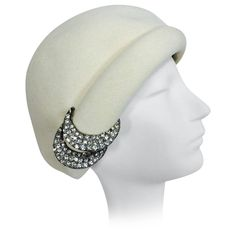 1960s Halston cream felt cocktail hat with rhinestone trim | From a collection of rare vintage hats at https://www.1stdibs.com/fashion/accessories/hats/
