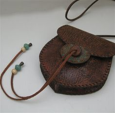 Medicine Bag Tooled with Ancient Glass & Wood Beads in Antique Brown