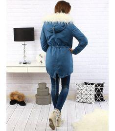 Dámska modrá párka bunda Parka, Coat, Jackets, Fashion, Down Jackets, Moda, Sewing Coat, Fashion Styles, Peacoats