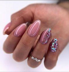 Cute Acrylic Nails, Cute Nails, Gel Nails, Rounded Acrylic Nails, Pink Nails, Glitter Nails, Perfect Nails, Gorgeous Nails, Nail Mania
