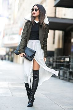 Layers :: Quilted jacket & Belted shirtdress