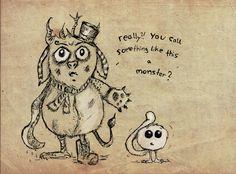 Ein altes Motiv für einen Zeichenwettbewerb über das ich grade gestolpert bin. #Monster #Kreatur #cute #Fantasy