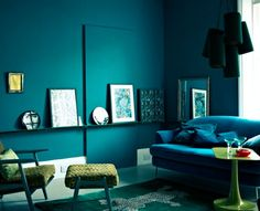 Love the deep blue walls mixed with the green