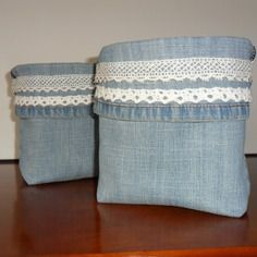 Panier, vide poche en blue jean recyclé avec dentelles