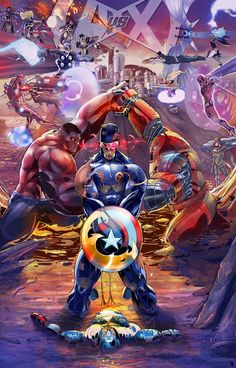 #Avengers vs #Xmen.... fraking epic i mean marvel would win .... wolverine will put up a hell of a fight tho