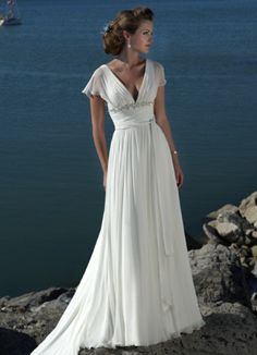 beach casual wedding gown with cap sleeves plus size bridal dress customized size bride gown