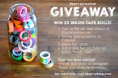 Find out how to enter 2Berry's giveaway to win the 25 washi tape rolls seen here! // 2berrycreative.com