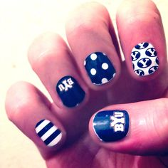 BYU game day nails I wonder if I could get my wife to do this.