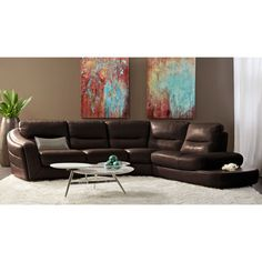 Ferrara Right Hand Facing Top Grain Leather Sectional – Brown