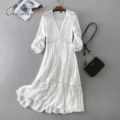 Cheap beach dress, Buy Quality summer dress directly from China women summer dress Suppliers: New Arrival Women Summer Dress Sexy V-neck Long Sleeve Lace Patchwork White Cotton Long Dress Casual Beach Dress Vestidos Robe White Boho Dress, Edgy Dress, White Dress Summer, Lace Dress, White Lace, Dress Straps, Bohemian Dress Long, White Sundress Long, Babydoll Dress