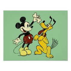 Vintage Mickey Mouse and Pluto