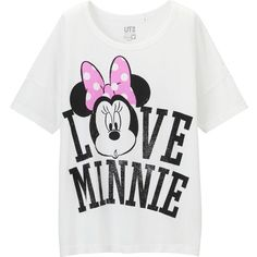UNIQLO Women Disney Project Short Sleeve Graphic T-Shirt ($20) ❤ liked on Polyvore featuring tops, t-shirts, white graphic t shirts, white t shirts, cotton t shirts, white short sleeve top and graphic tees