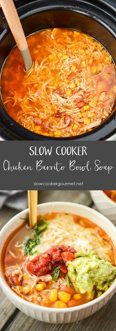 Slow Cooker Chipotle Chicken Burrito Bowl Soup
